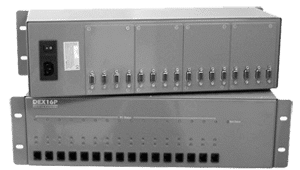 KVM-16-RK Supports up to 16 KVM Transmitters or Receivers and redundant power supply Video Audio PS2 RS-232 over CAT5