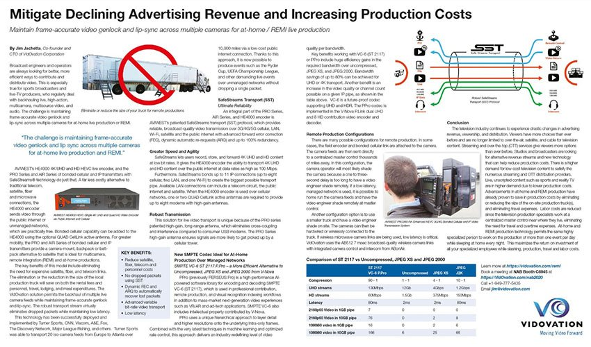 Mitigate Declining Advertising Revenue and Increasing Production Costs